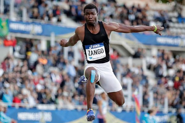 Hugues-Fabrice Zango in the triple jump at the Meeting de Paris (AFP / Getty Images)