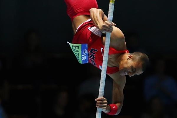 Ashton Eaton in the heptathlon pole vault at the 2014 IAAF World Indoor Championships in Sopot (Getty Images)