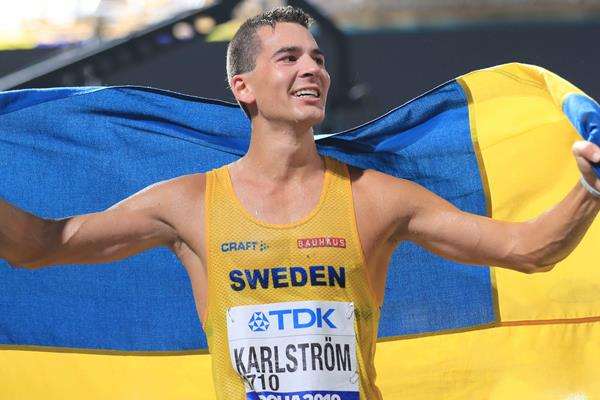 Perseus Karlstrom after the 20km race walk at the IAAF World Athletics Championships Doha 2019 (AFP / Getty Images)