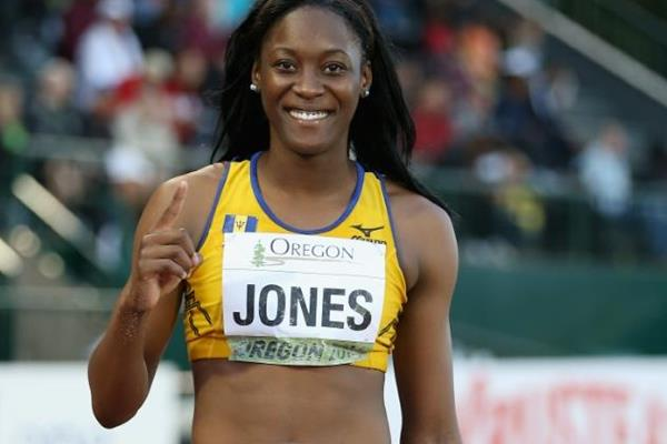 Long jump winner Akela Jones at the IAAF World Junior Championships, Oregon 2014 (Getty Images)