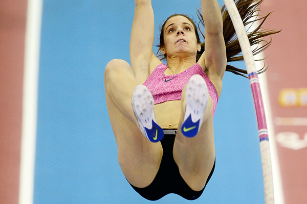Ekaterini Stefanidi in the pole vault at the Birmingham Indoor Grand Prix (Getty Images)