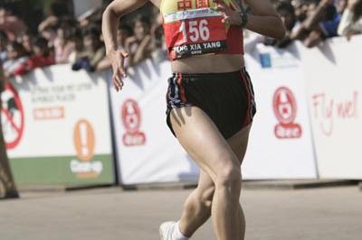 18-year-old Yang Feng Xia en route to her victory at the Mumbai Marathon (Mumbai Marathon organisers)