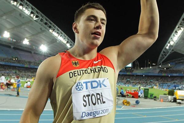 David Storl of Germany celebrates winning the men's shot put final  (Getty Images)