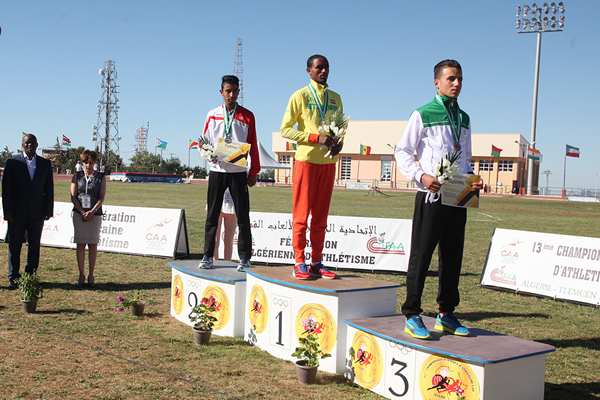 Yohanis Algaw on top of the podium after winning the 10,000m race walk at the African Junior Championships (LOC)
