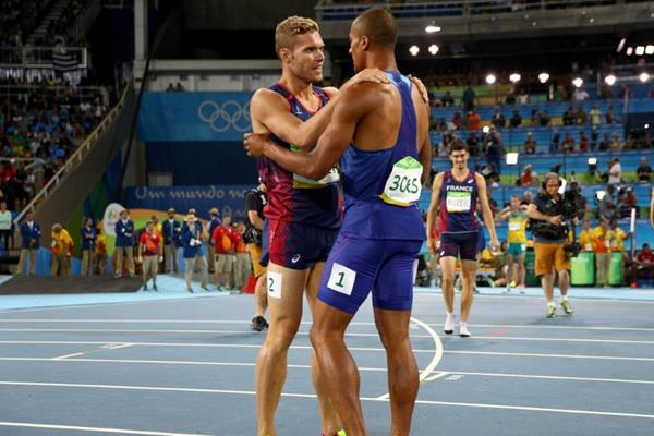 Ashton Eaton and Kevin Mayer at the end of the decathlon at the Rio 2016 Olympic Games (Getty Images)