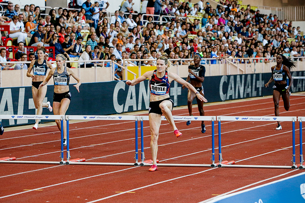 Eilidh Doyle wins the 400m hurdles at the IAAF Diamond League meeting in Monaco (Philippe Fitte)