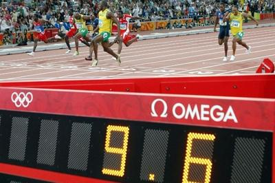 Usain Bolt stops the clock in a world record time to win the 2008 Olympic 100m title (Getty Images)