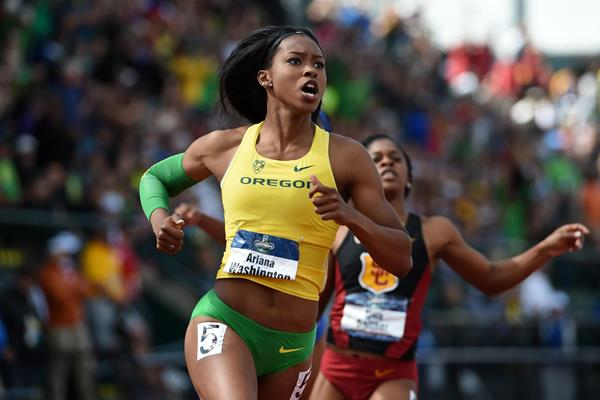 Ariana Washington in action on the final day of the NCAA Championships in Eugene (Kirby Lee)