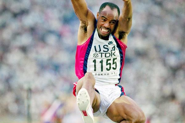 Mike Powell sails to his 8.95m world record leap at the 1991 World Championships in Tokyo (Getty Images)