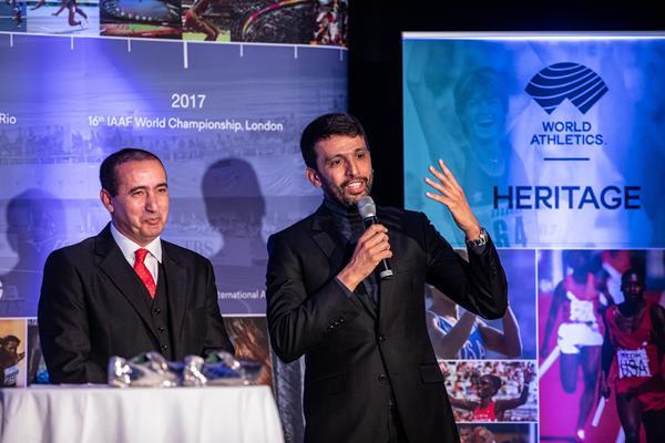 Noureddine Morceli and Hicham El Guerrouj - Heritage Mile Night (© Philippe Fitte for World Athletics)