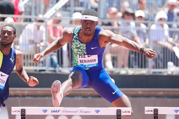Rai Benjamin on his way to winning the 400m hurdles at the IAAF Diamond League meeting in Stanford (Victah Sailer)