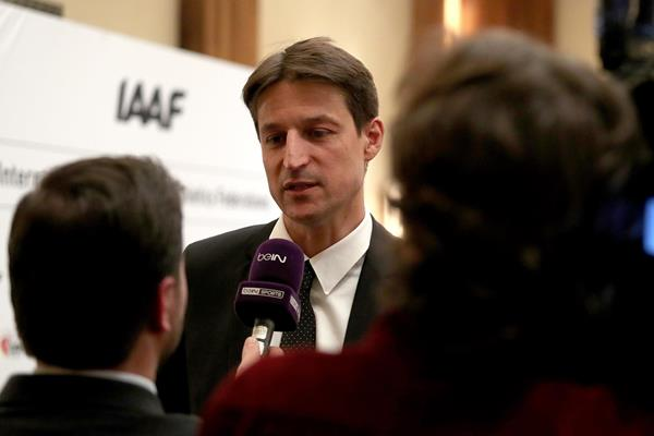 IAAF CEO Olivier Gers at the IAAF Council Meeting in London (Chris Lee)