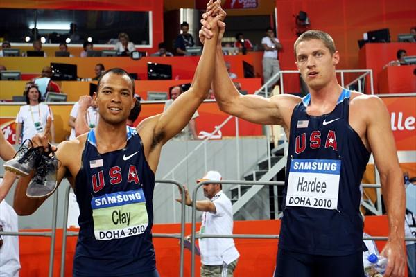 Bryan Clay and Trey Hardee both of USA celebrate winning gold and silver in the Heptathlon (Getty Images)