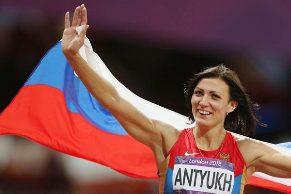 Russia's Natalya Antyukh celebrates after winning 400m Hurdles gold at the London 2012 Olympics (Getty Images)