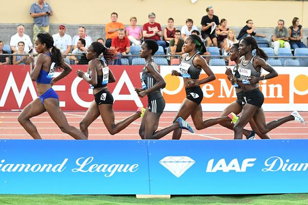 Genzebe Dibaba leads the 3000m at the 2016 IAAF Diamond League meeting in Lausanne (Gladys von der Laage)