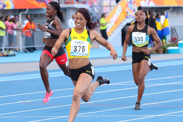 Briana Williams of Jamaica in action at the Carifta Games (Leo Hudson)