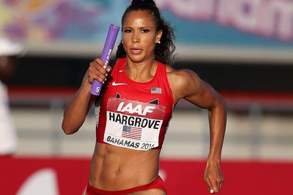 Monica Hargrove in the 4x400m at the IAAF World Relays (Getty Images)