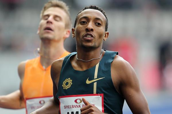 Mohammed Aman winning the 800m at the 2014 ISTAF Berlin meeting (Gladys von der Laage)