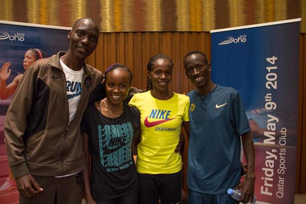 Asbel Kiprop, Mercy Cherono, Eunice Sum, Ezekiel Kemboi at the Doha 2014 IAAF Diamond League press points (Doha LOC)