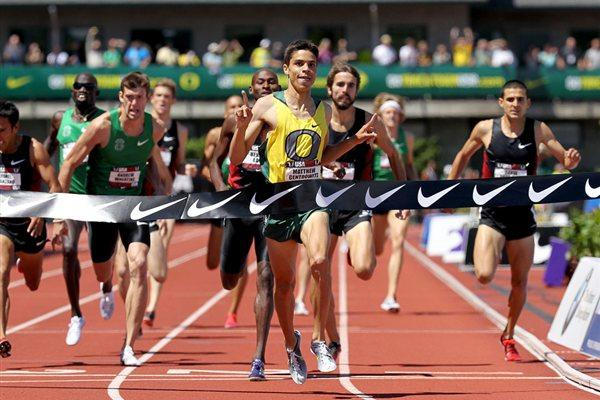 Matthew Centrowitz takes a surprise 1500m national title in Eugene (Getty Images)