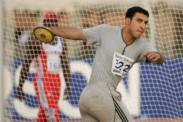 Ali Shahrokhi of Iran on his way to victory in the Boys' Discus final at the World Youth Championships (Getty Images)