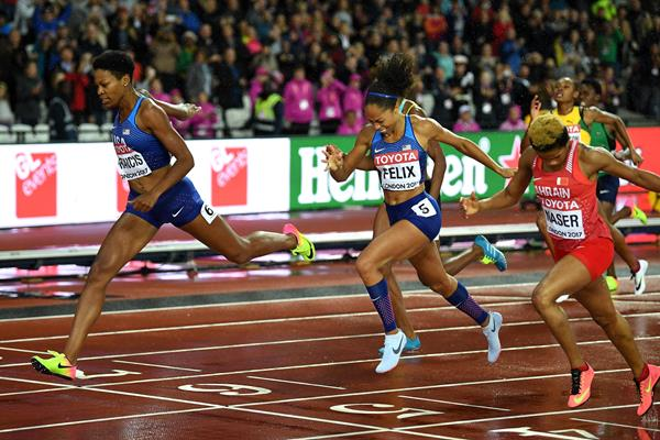 Phyllis Francis, Allyson Felix and Salwa Eid Naser cross the line in the women's 400m at the IAAF World Championships London 2017 (Getty)
