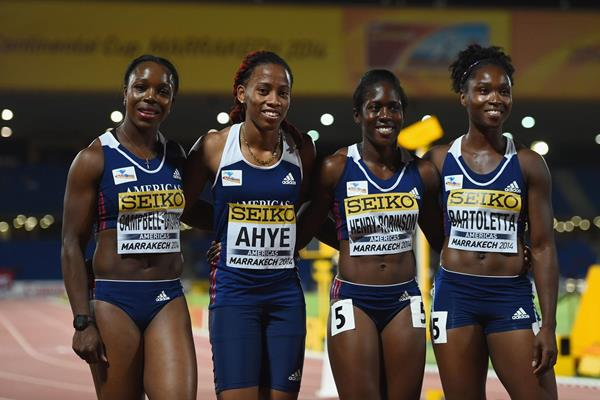 The winning 4x100m team at the IAAF Continental Cup, Marrakech 2014 (Getty Images)