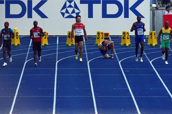 The 200m World Junior Champion Christophe Lemaître of France and Daniel Grueso of Columbia are both disqualified from the men's 100m quarter-finals (Getty Images)