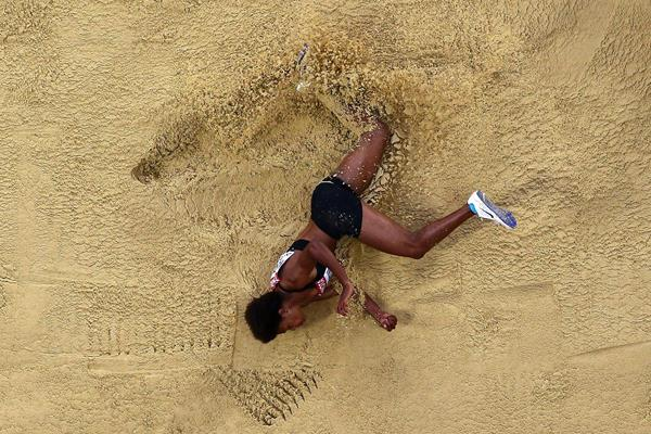 Rellie Kaputin of Papua New Guinea in action in the long jump (Getty Images)