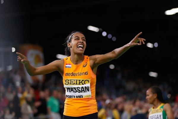 Sifan Hassan after winning the 1500m at the IAAF World Indoor Championships Portland 2016 (Getty Images)