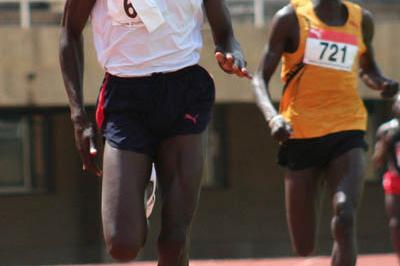 Teenager Abraham Chepkirwot en route to his 1:45.0 win at the Akii-Bua memorial in Kampala (Daniel Senfuma)