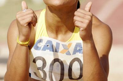 Brazilian Keila Costa after her South American Triple Jump record in Sao Paulo (Wander Roberto de Oliveira/CBAt)