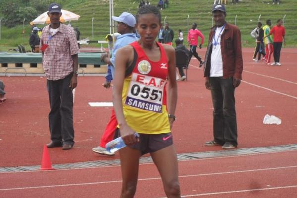 . Yebrgual Melese after winning the 10000m at the 2013 Ethiopian championships (Bizuayehu Wagaw)