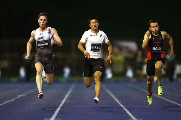 Yoshihide Kiryu (centre) in action at the Queensland Track Classic (Getty Images)