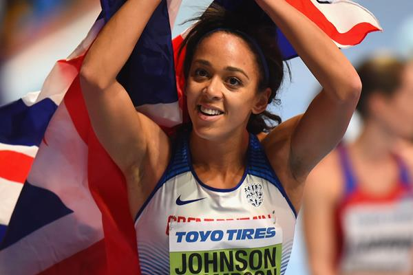 Katarina Johnson-Thompson after winning the pentathlon at the IAAF World Indoor Championships Birmingham 2018 (Getty Images)