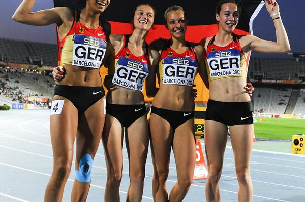 Alexandra Burghardt, Ida Mayer, Katharina Grompe and Jessie Maduka of Germany pose after winning the silver medal on the Women's 4x100 metres Relay Final on the day five of the IAAF World Junior Championships in  Barcelona on 14 July 2012 (Getty Images)