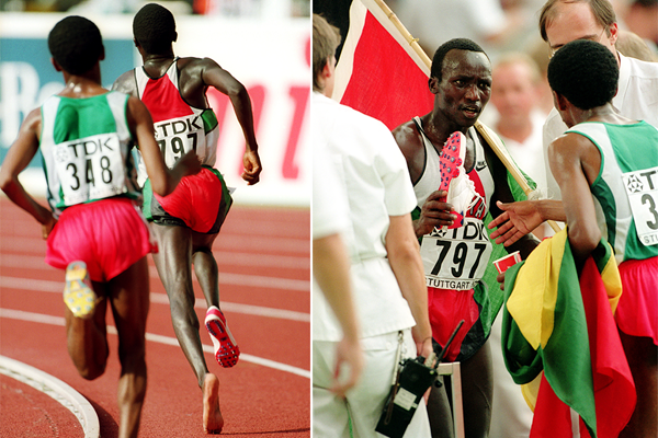 Moses Tanui and Haile Gebrselassie in the 10,000m at the 1993 IAAF World Championships in Stuttgart (Getty Images)
