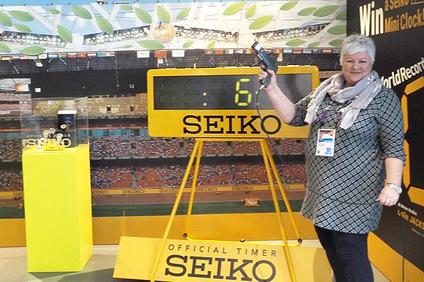 Seiko's Susan Boobyer at the IAAF World Indoor Championships Birmingham 2018 (Seiko)