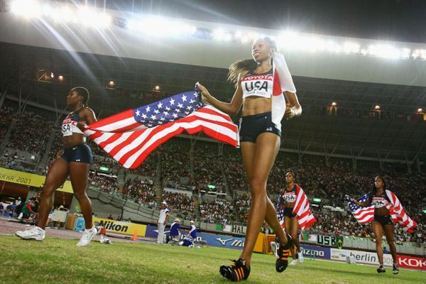 Allyson Felix of USA celebrates as her country takes victory in the Women's 4 x 100m Relay Final (Bongarts/Getty Images)