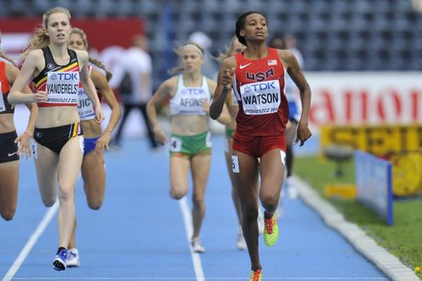Samantha Watson competes in the 800m opening round at the IAAF World U20 Championships Bydgoszcz 2016 (Getty Images)