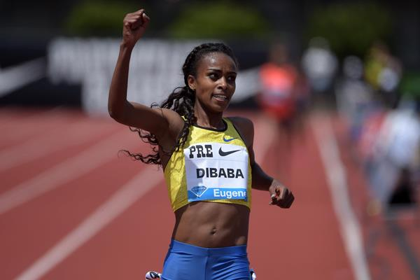 Genzebe Dibaba winning the 5000m at the 2015 IAAF Diamond League meeting in Eugene (Kirby Lee)