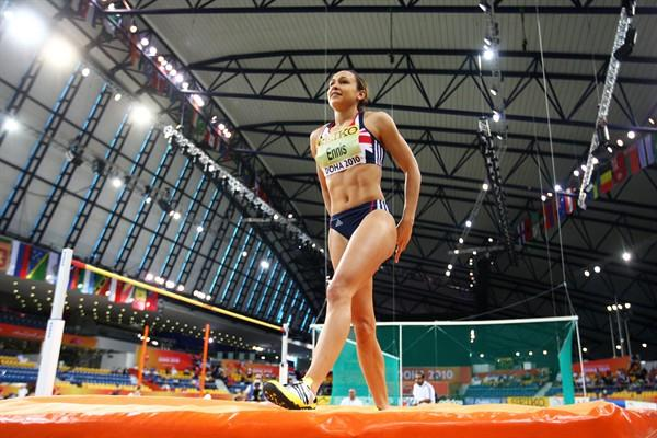 Jessica Ennis of GBR competes in the Pentathlon High Jump (Getty Images)