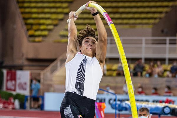Mondo Duplantis, winner of the pole vault at the Diamond League meeting in Monaco (Philippe Fitte)