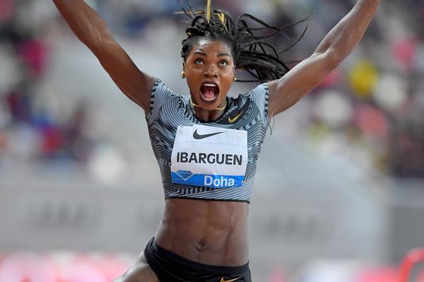 Caterine Ibarguen, winner of the long jump at the IAAF Diamond League meeting in Doha (Jiro Mochizuki)