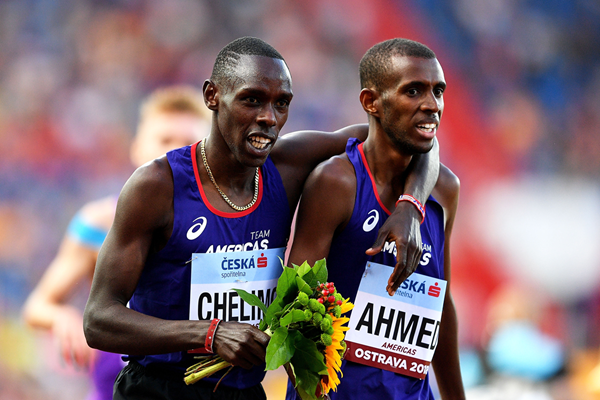 Paul Chelimo and Mo Ahmed after finishing first and second in the 3000m at the IAAF Continental Cup Ostrava 2018 (Getty Images)