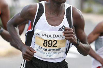 Paul Lekuraa on way to victory at Alpha Bank Athens Classic Marathon (Victah Sailer)