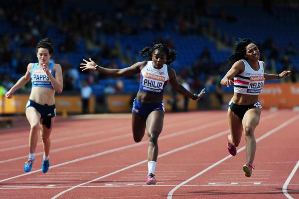 Asha Philip wins the British 100m title in a wind-assisted 11.11 (Getty Images)