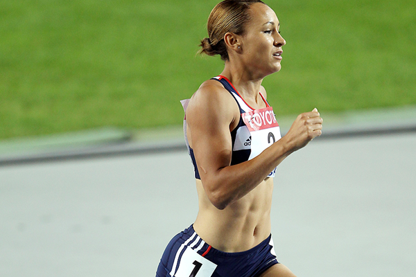 Jessica Ennis in the heptathlon 800m at the IAAF World Championships (Getty Images)