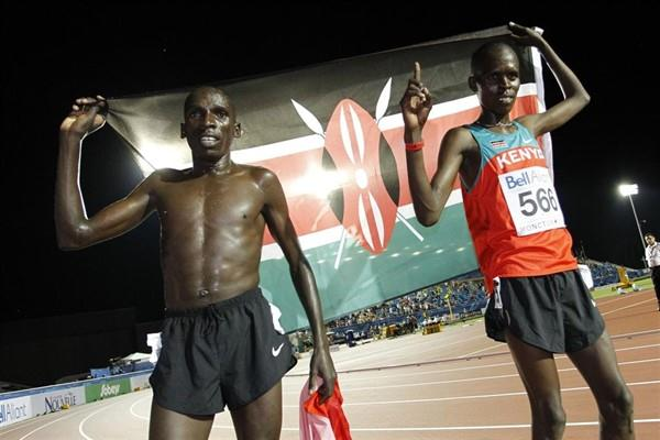 Dennis Masai and Paul Lonyangata celebrate winning the gold and bronze medal in the men's 10,000m (Getty Images)