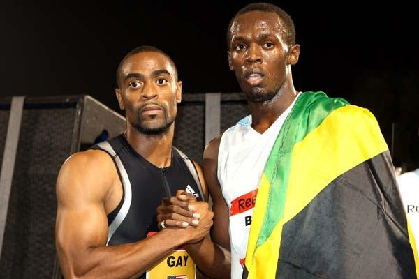 Gay and Bolt both looking shocked at the 9.72 sec time which had just been achieved in New York (Victah Sailer)